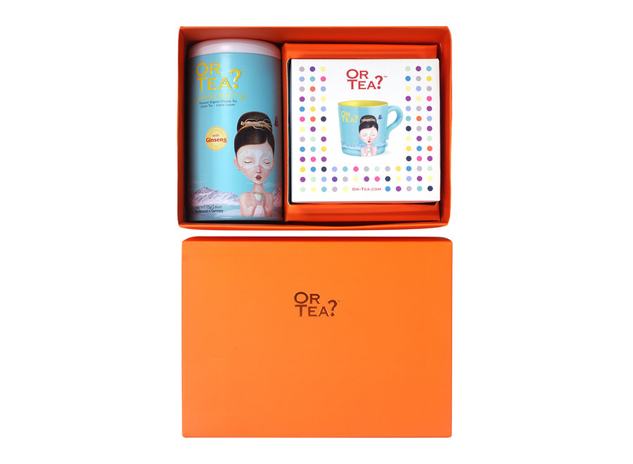 Double Happiness XL - Ginseng Beauty Tin Canister (75g) + Turquoise Mug