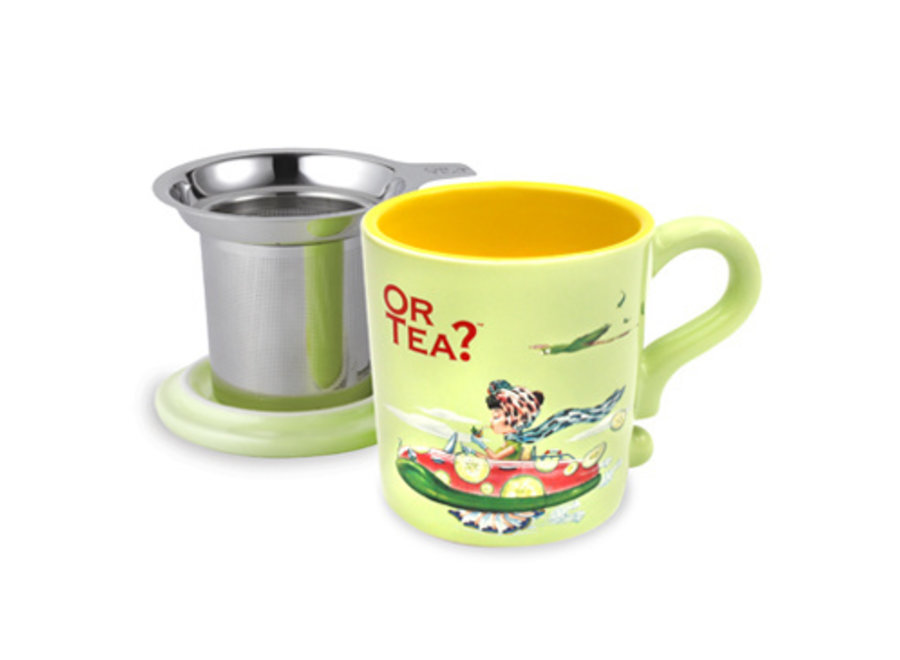 Lime Mug  - Ceramic Mug with Stainless Steel Infuser