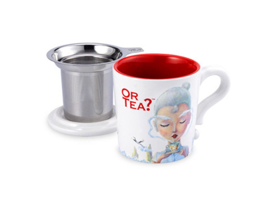 White Mug - Ceramic Mug with Stainless Steel Infuser
