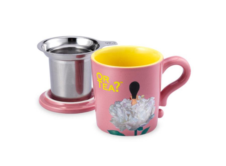 Pink Mug  - Ceramic Mug with Stainless Steel Infuser