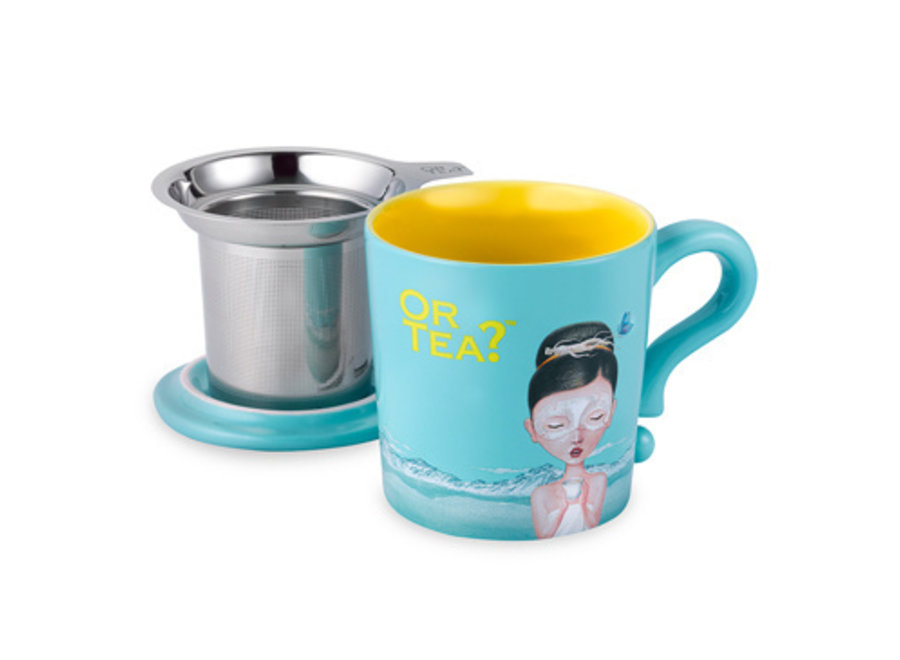 Turquoise Mug - Ceramic Mug with Stainless Steel Infuser