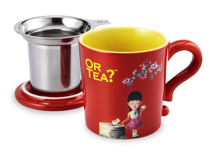 Red  Mug- Ceramic Mug with Stainless Steel Infuser