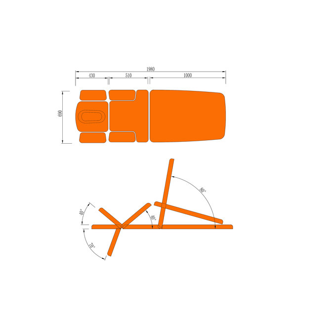 Fysio treatment couch Fysio Pro C 7 parts