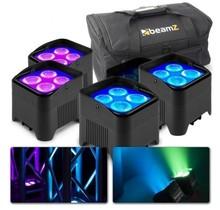 4x BeamZ BBP94W accu LED Uplights met tas