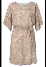 Yaya YAYA  Belted dress with ruffles white brown