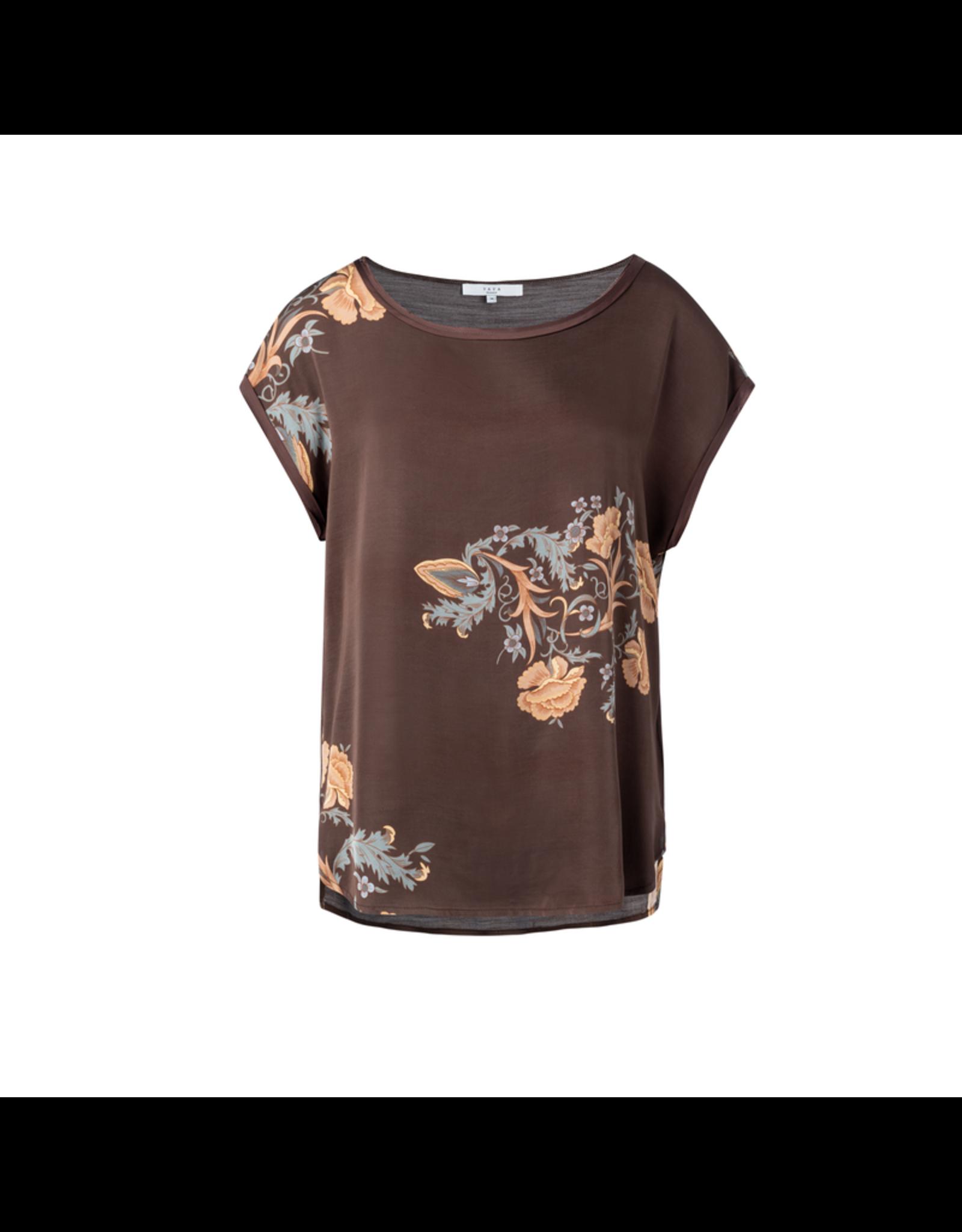 Yaya YAYA Round neck T-shirt with print brown chocolate