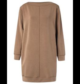 Yaya YAYA Modal blond boat neck dress with stitch details brown Clay 1809243-022-81018