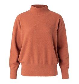 Yaya YAYA Brushed high neck sweater Rustic brown
