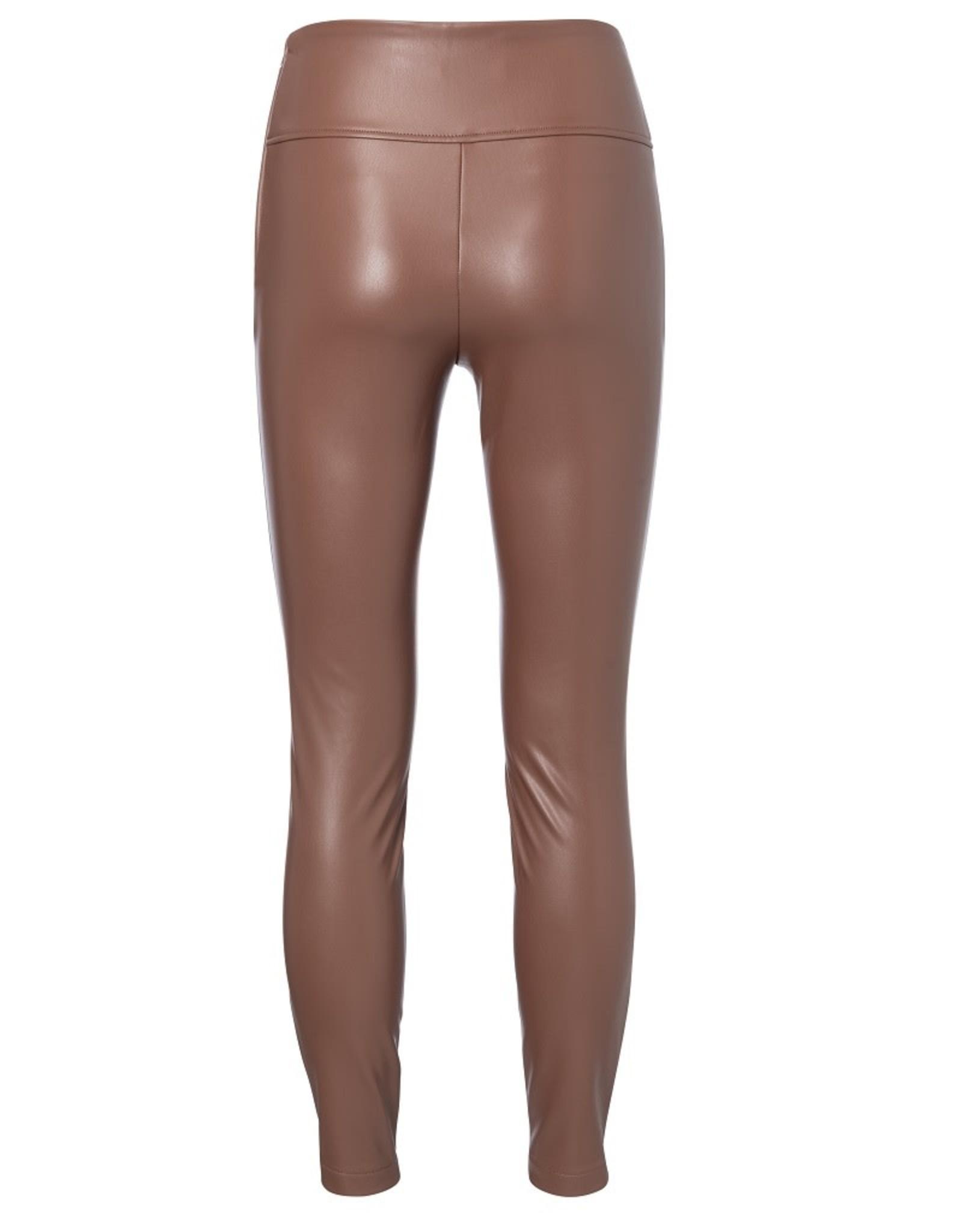 YAYA YAYA Stretch faux leather legging cacao brown