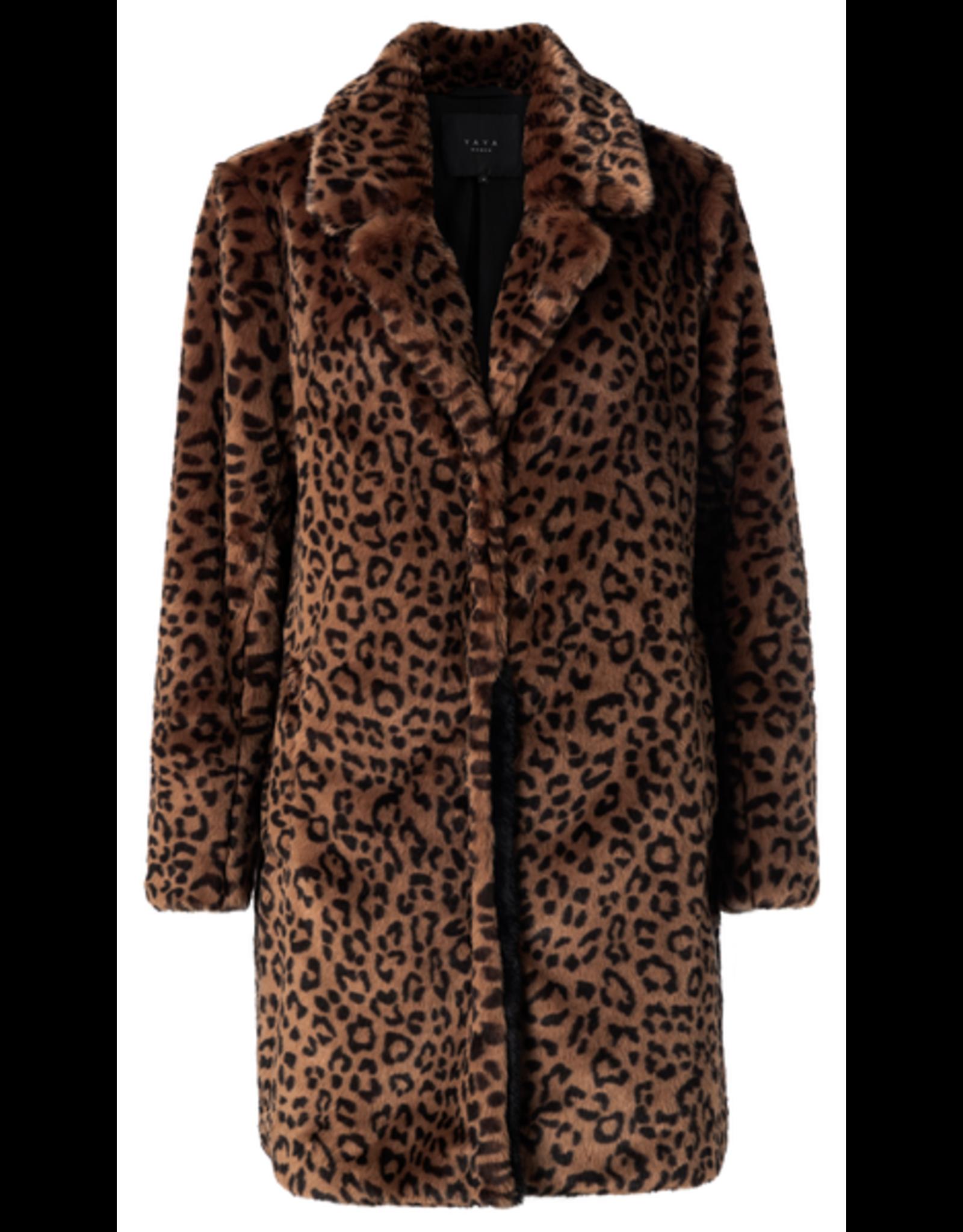 Yaya YAYA Faux Fur coat Brown dessin