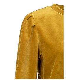 Yaya YAYA Velvet sweater with puff sleeves Mustard Gold