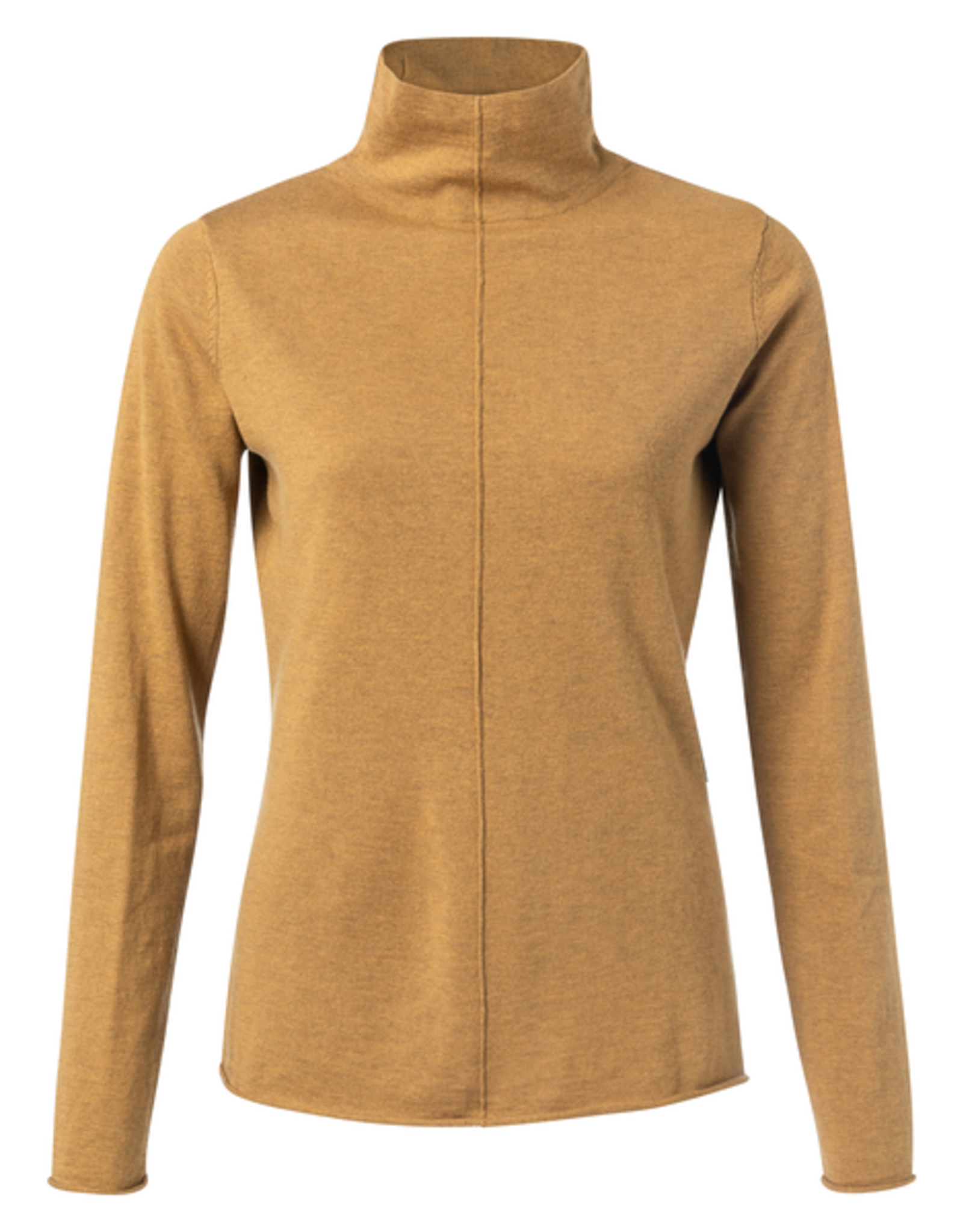 Yaya YAYA Cotton blend high neck sweater seam at front Mustard gold