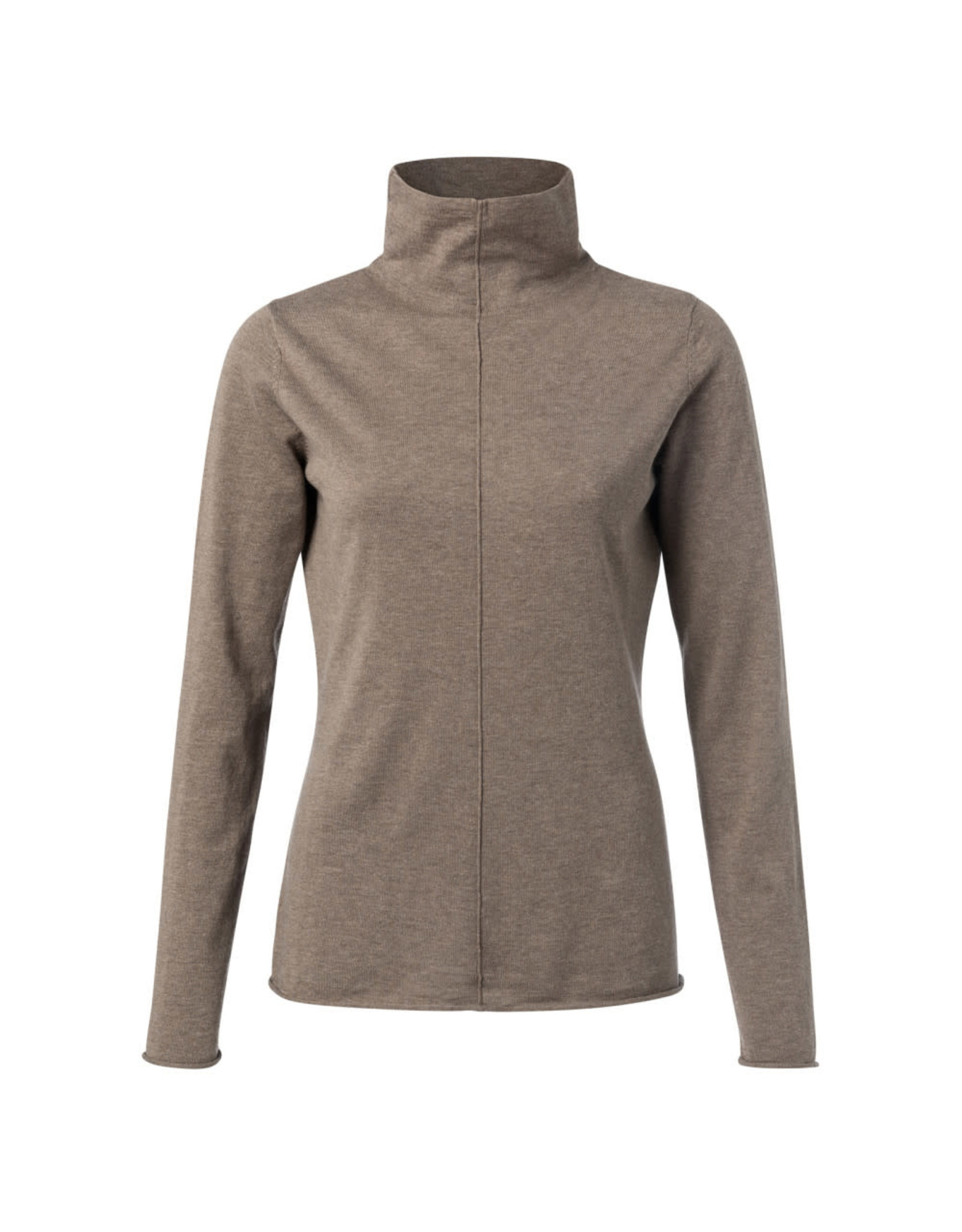 Yaya YAYA Cotton blend high neck sweater with seam at front Chocolate melange