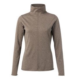 Yaya YAYA Cotton blend high neck sweater with seam at front Chocolate melange