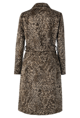 Yaya YAYA Wool blend tailored coat with snake print Chocolate print