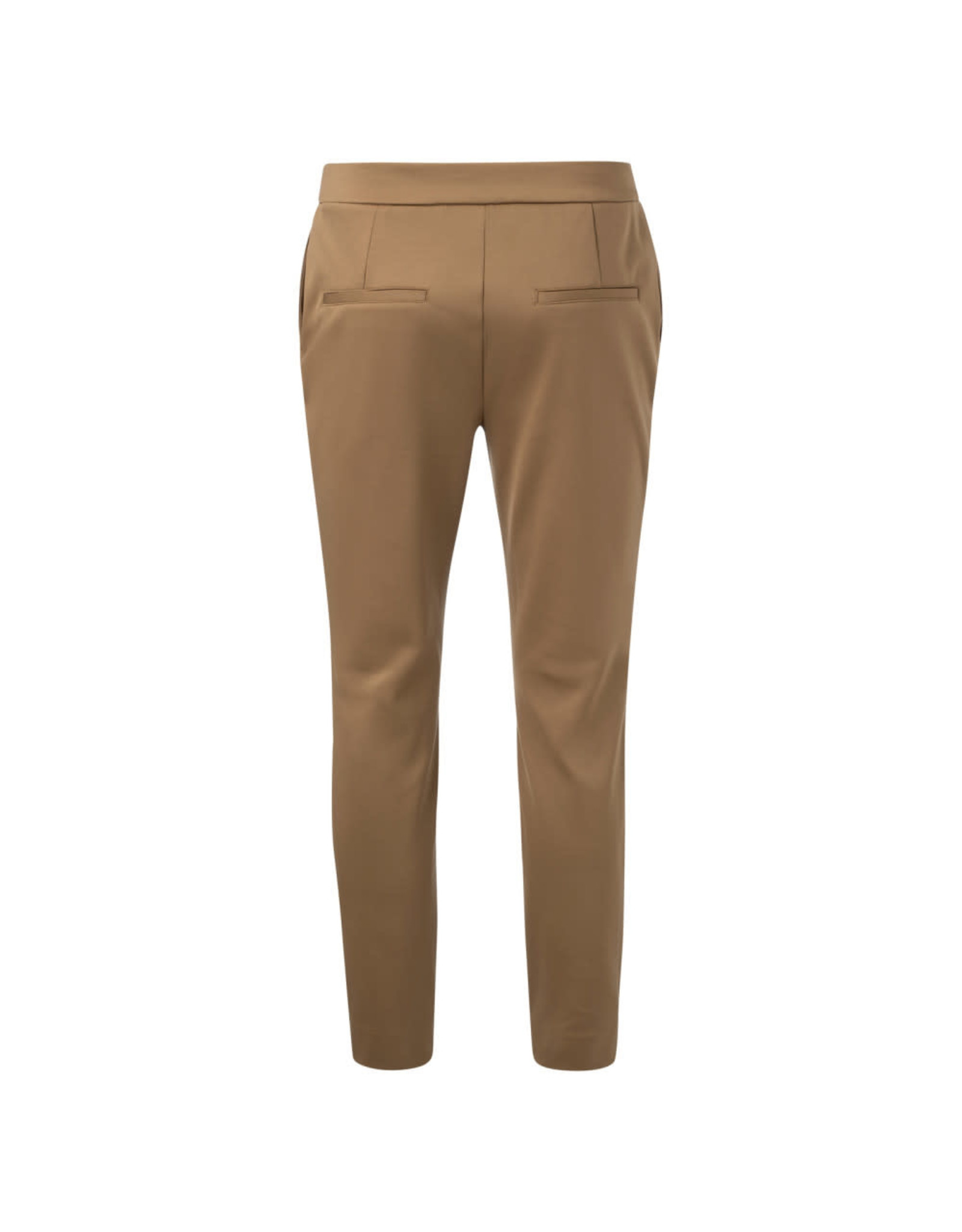 Yaya Jersey straight trousers with zippers at ankles Brown Clay