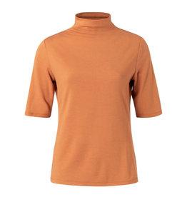 YAYA YAYA Mock neck top  with half sleeves Rust