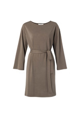 YAYA YAYA Modal blend boat neck dress with 3/4 sleeves Chocolate