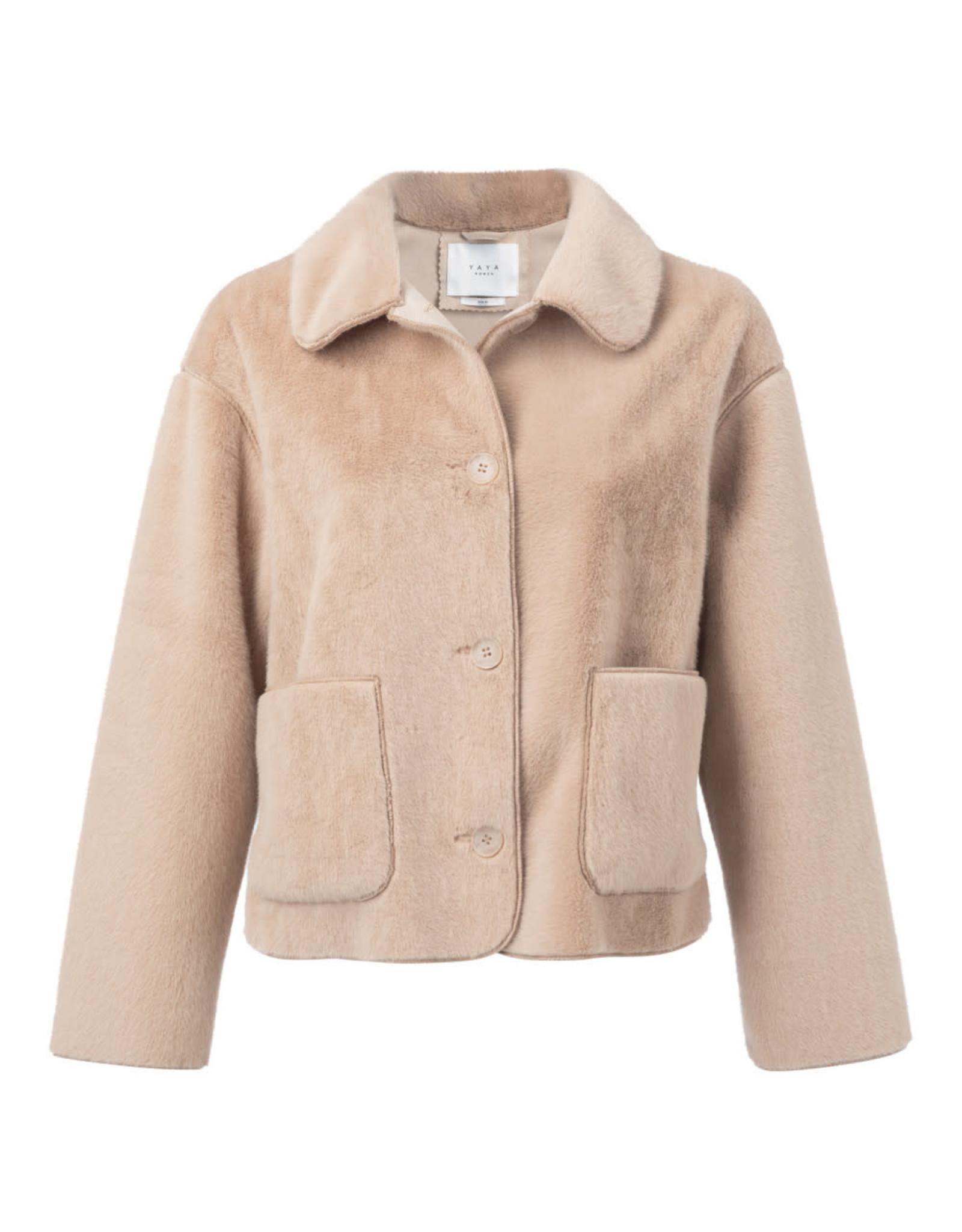 Yaya short faux fur jacket Sand