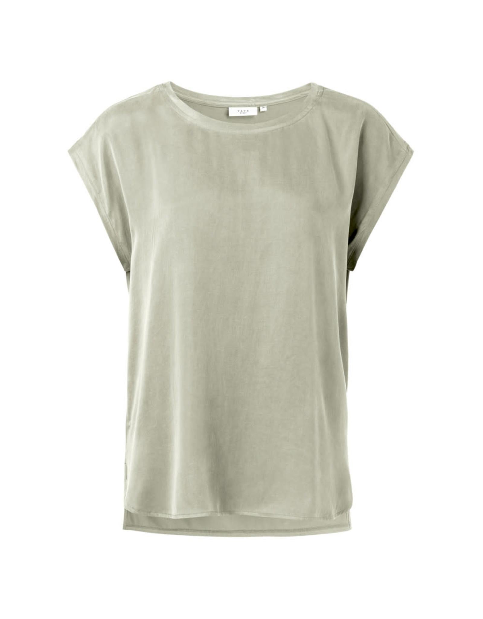 YAYA YAYA Cupro blend fabric mix t-shirt Silver Sage