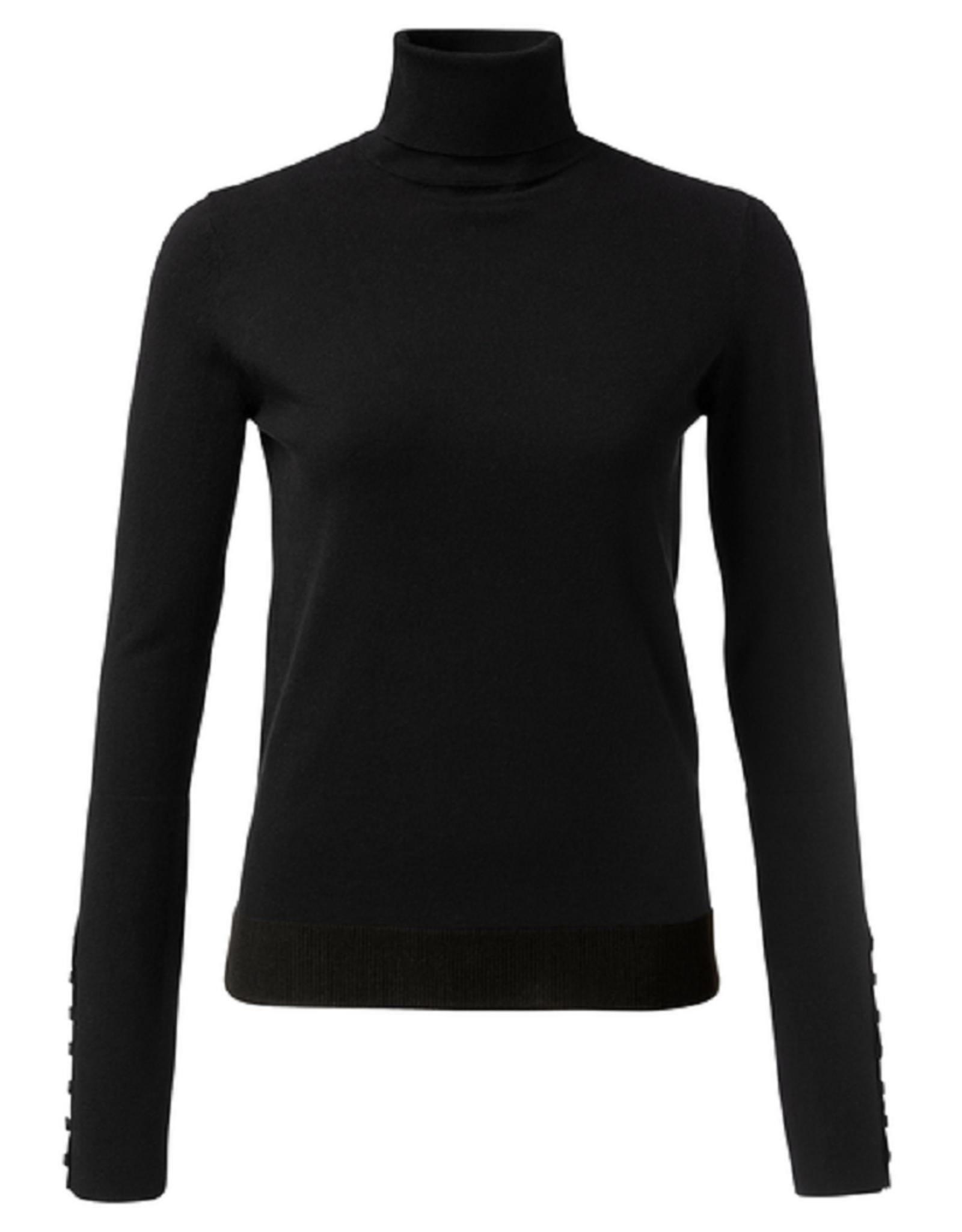 Yaya Yaya High neck sweater with buttons Zwart