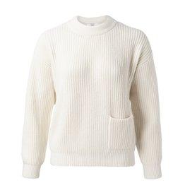 Yaya Yaya Cozy sweater with rib stitches and pockets Wool white