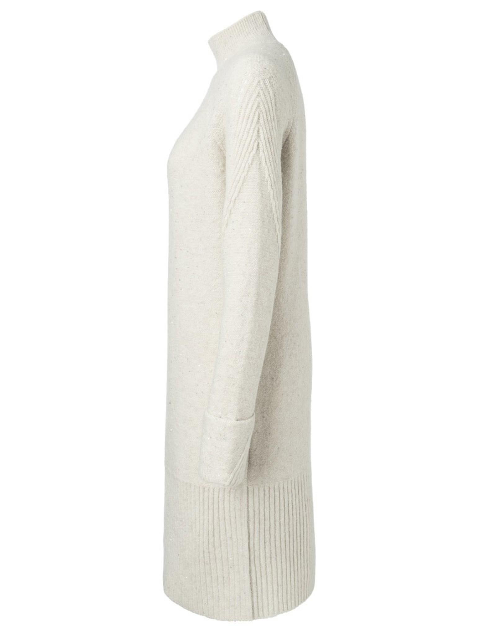 Yaya Yaya Alpaca blend rib dress with sequins Tofu beige
