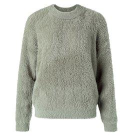 Yaya Yaya Fluffy faux fur fabric mix sweater with crew neck - Faded green