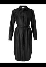 Yaya Yaya faux leather belted dress with curved hem Black