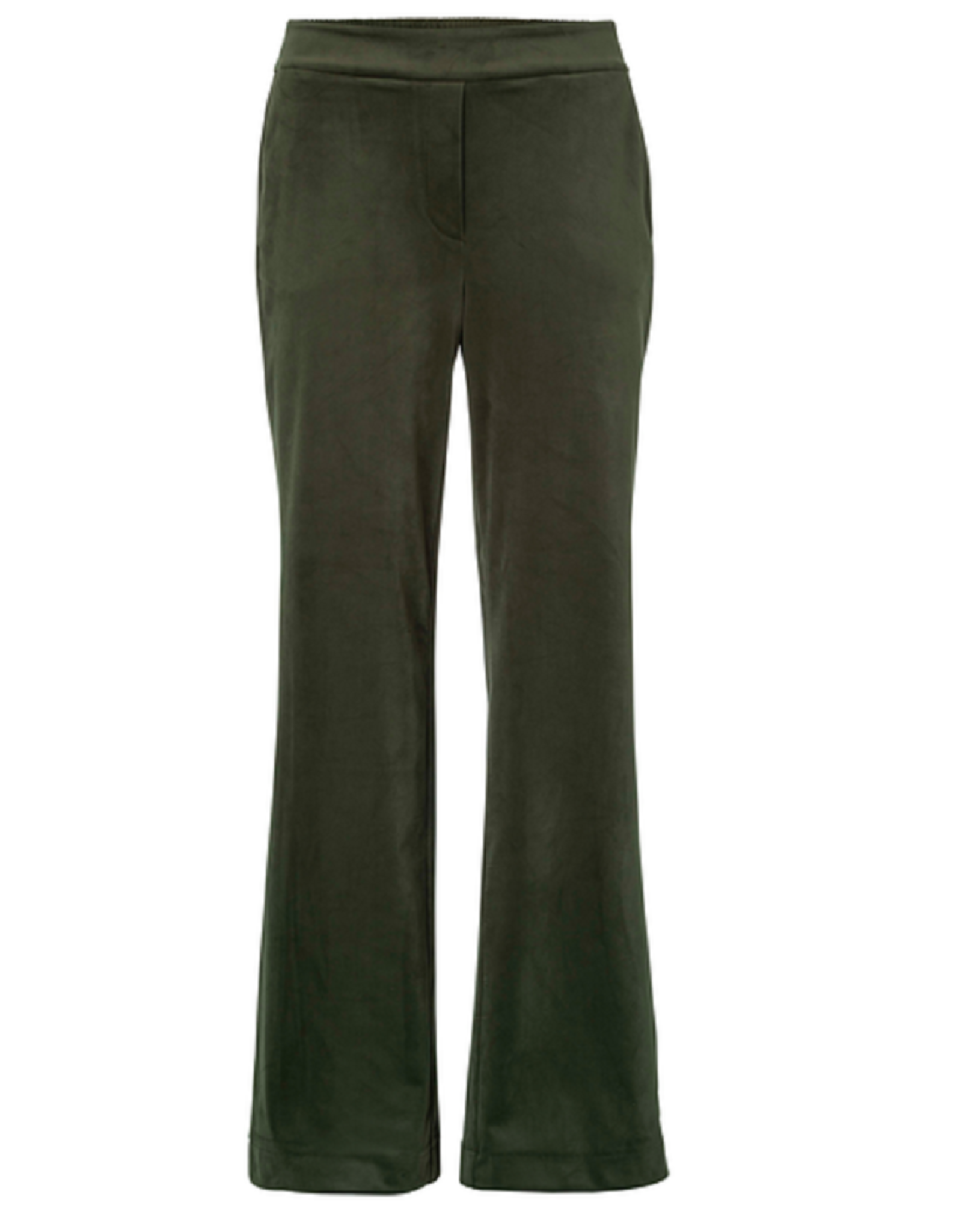 YAYA Yaya Velvet stretch relaxed trousers with wide leg - Deep dark woods groen