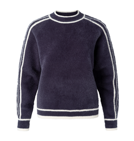 Yaya Yaya Fluffy mock sweater with contrast stripes Blue Nights