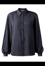 Yaya Yaya Satin shirt with puff sleeves Blue Nights