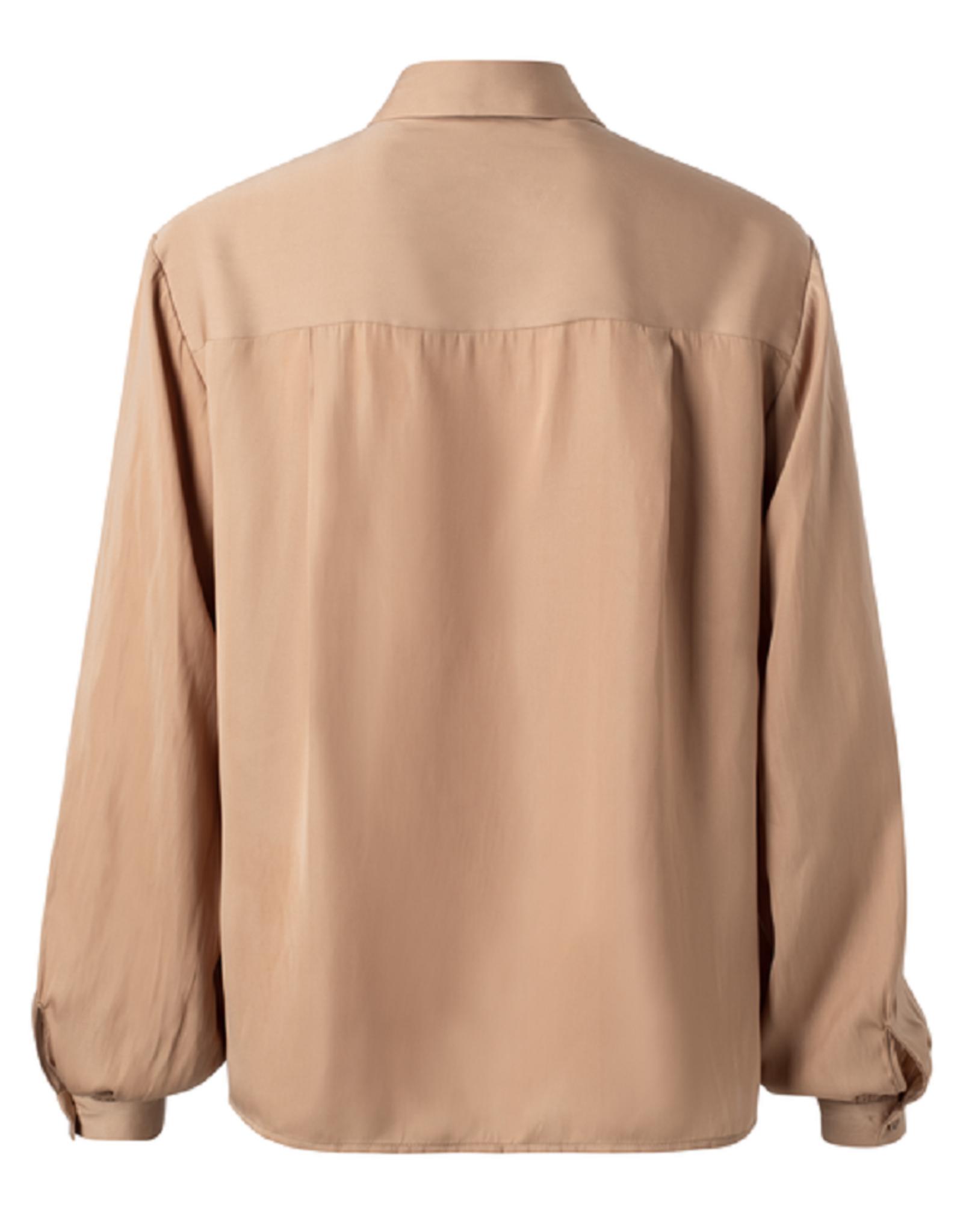 Yaya Yaya Satin shirt with puff sleeves Dusty toffee