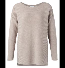 Yaya Yaya Cotton sweater with small splits on sides Beige melange
