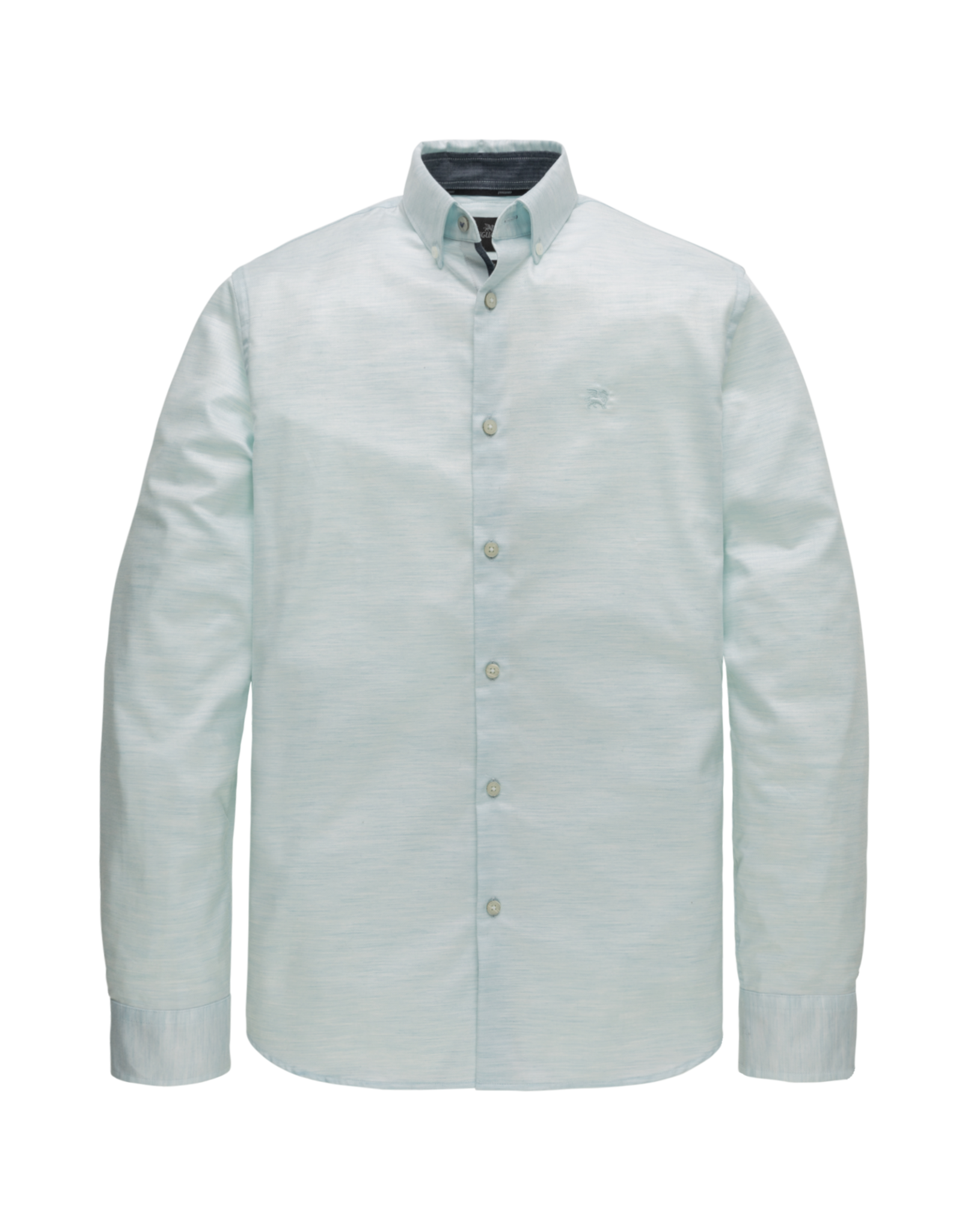 Vanguard Vanguard l/s shirt structured melange stretch sea green
