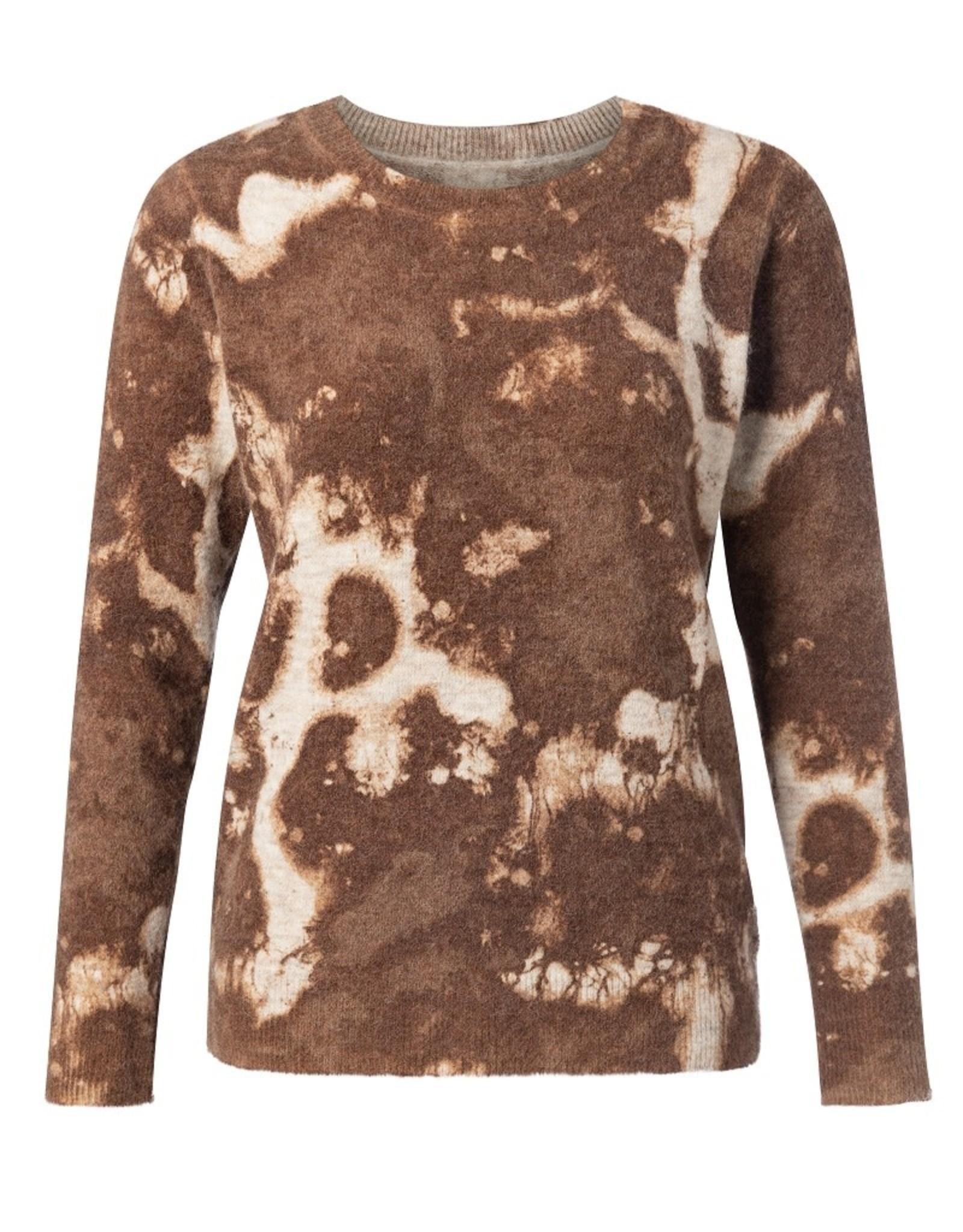 Yaya YAYA Alpaca blend round neck sweater inside out print Beige melange dessin