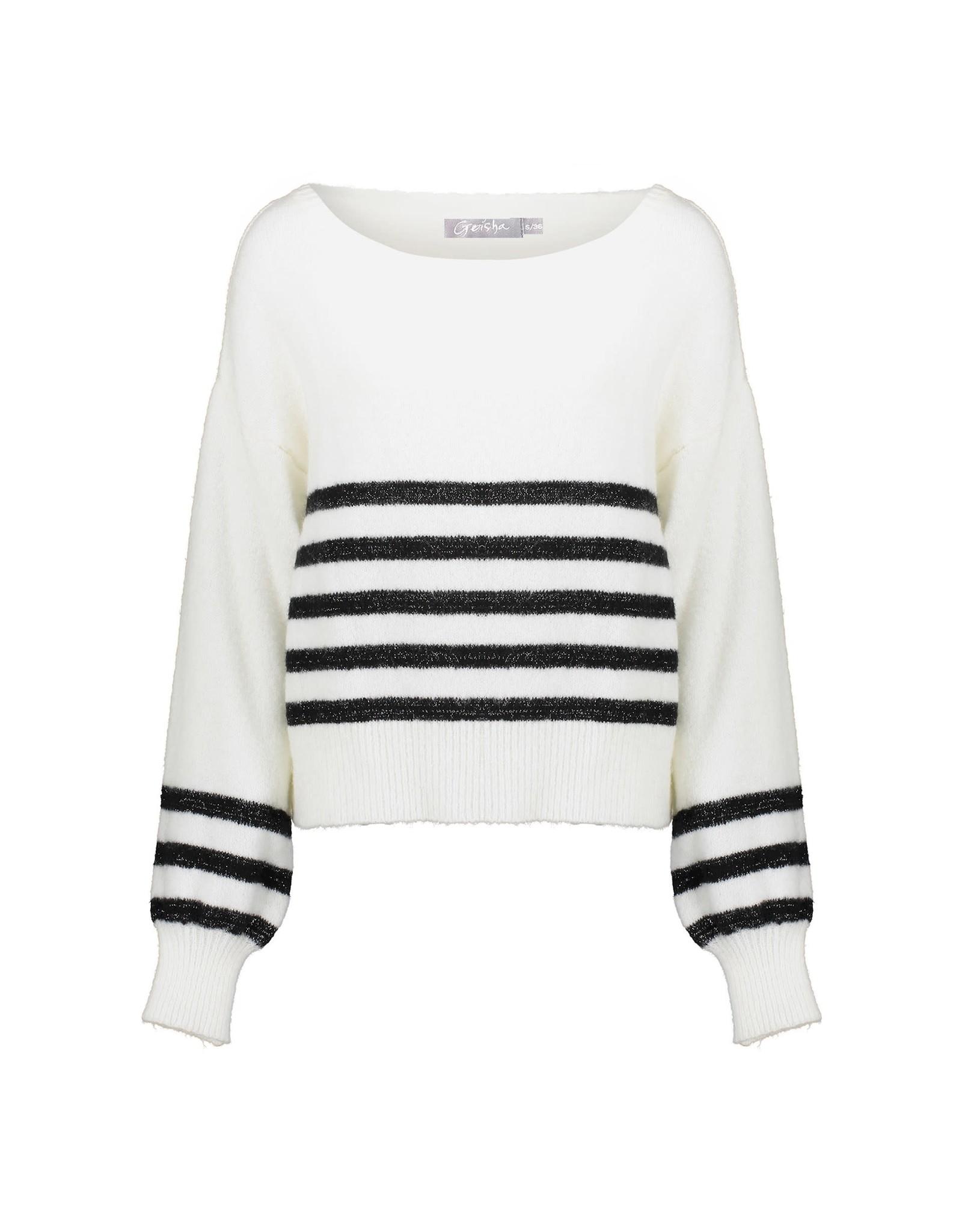 Geisha Geisha knitted wit zwarte trui