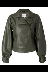 YAYA YAYA Faux leather biker jacket baloon sleeves Seaweed