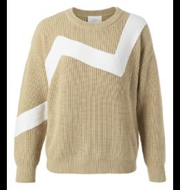 YAYA YAYA zig zag sweater Pale Khaki