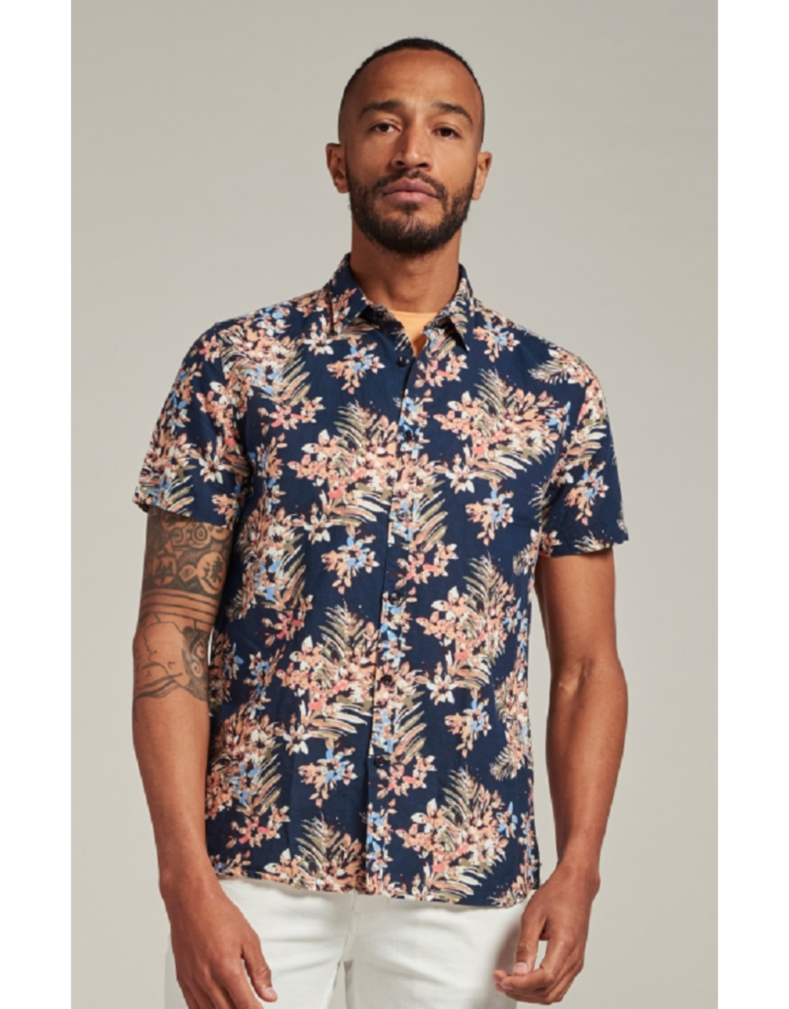 Dstrezzed Dstrezzed Shirt regular collar Painted Flower Dk navy