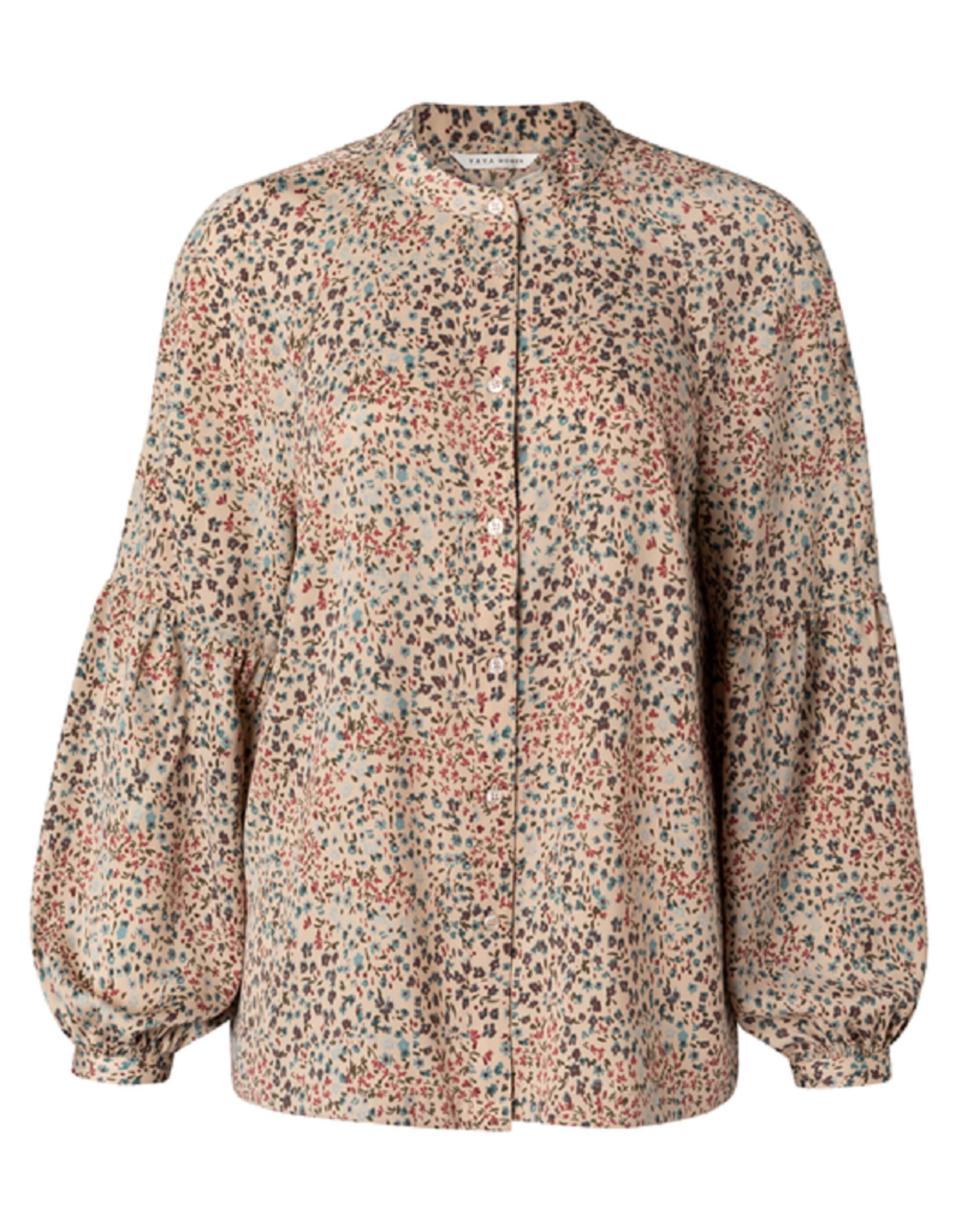 YAYA YAYA Printed puff sleeve blouse sand dessin