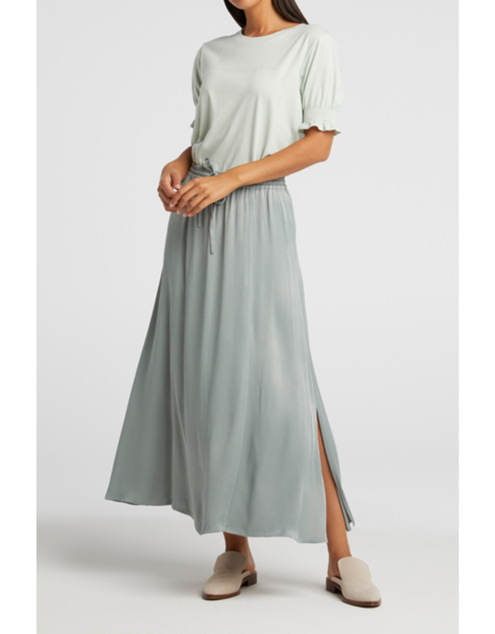 YAYA YAYA long satin skirt with elastic waist concrete blue