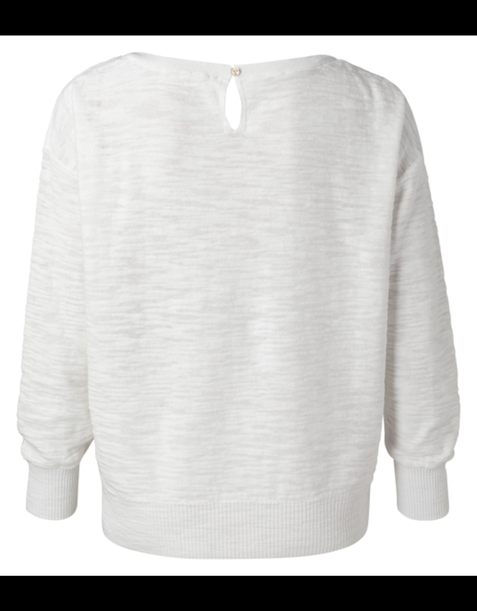 YAYA YAYA Boatneck sweater with rib stitch detail wool white