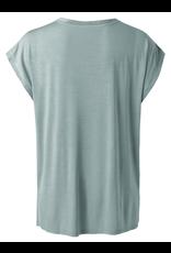 YAYA YAYA cupro blend fabric mix t-shirt concrete blue