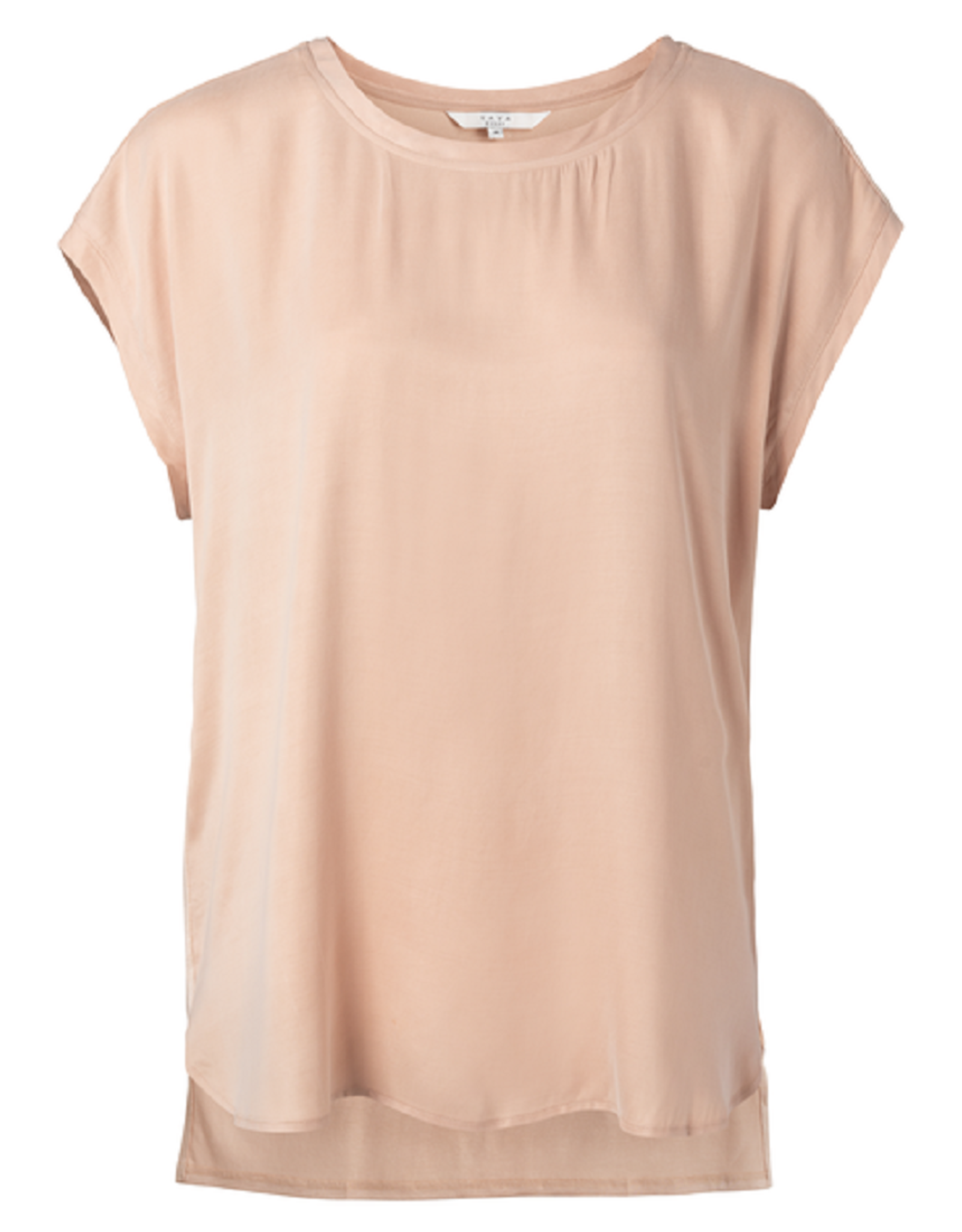 YAYA YAYA cupro blend fabric mix t-shirt faded rose