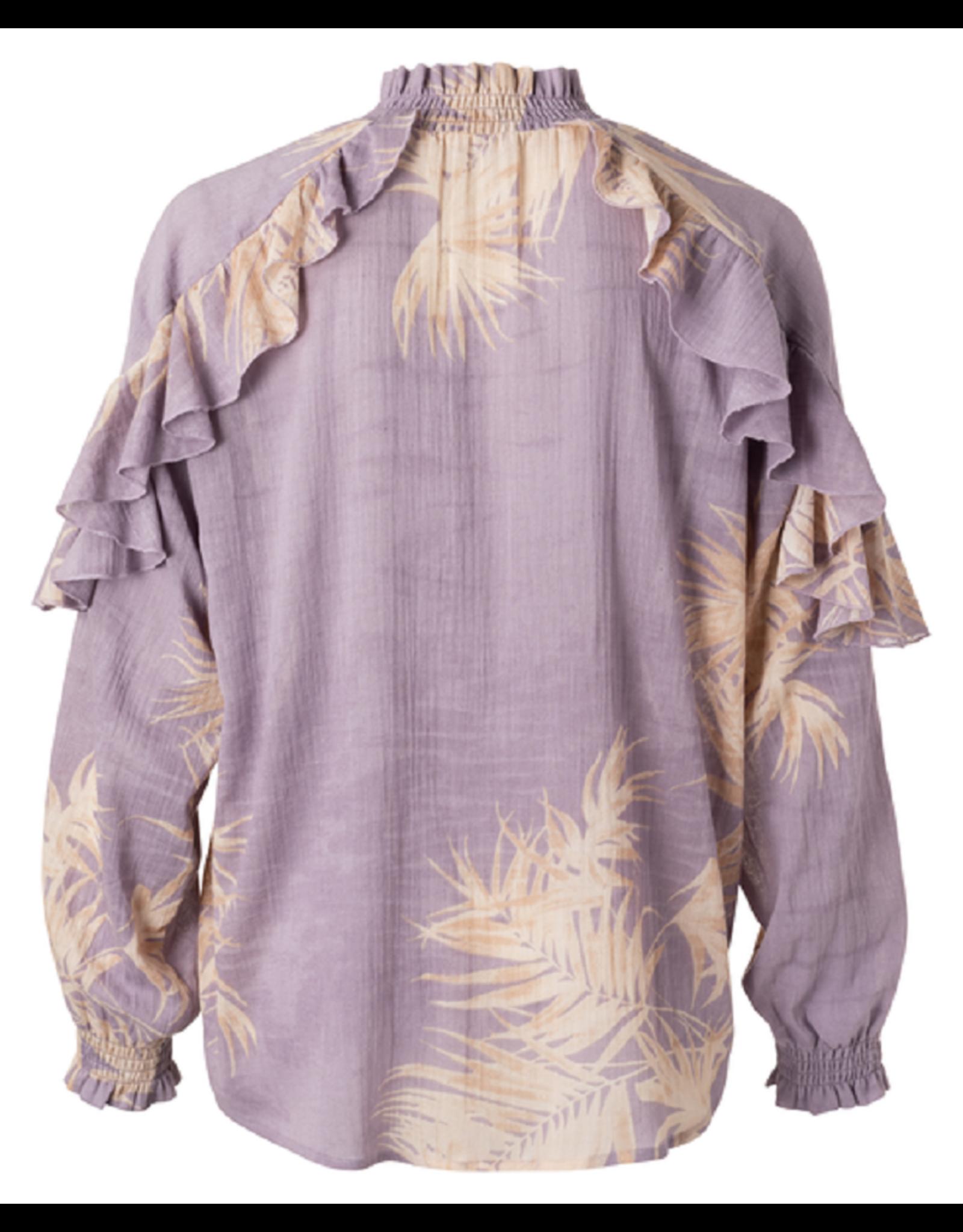 YAYA YAYA Printed ruffles top lilac dessin