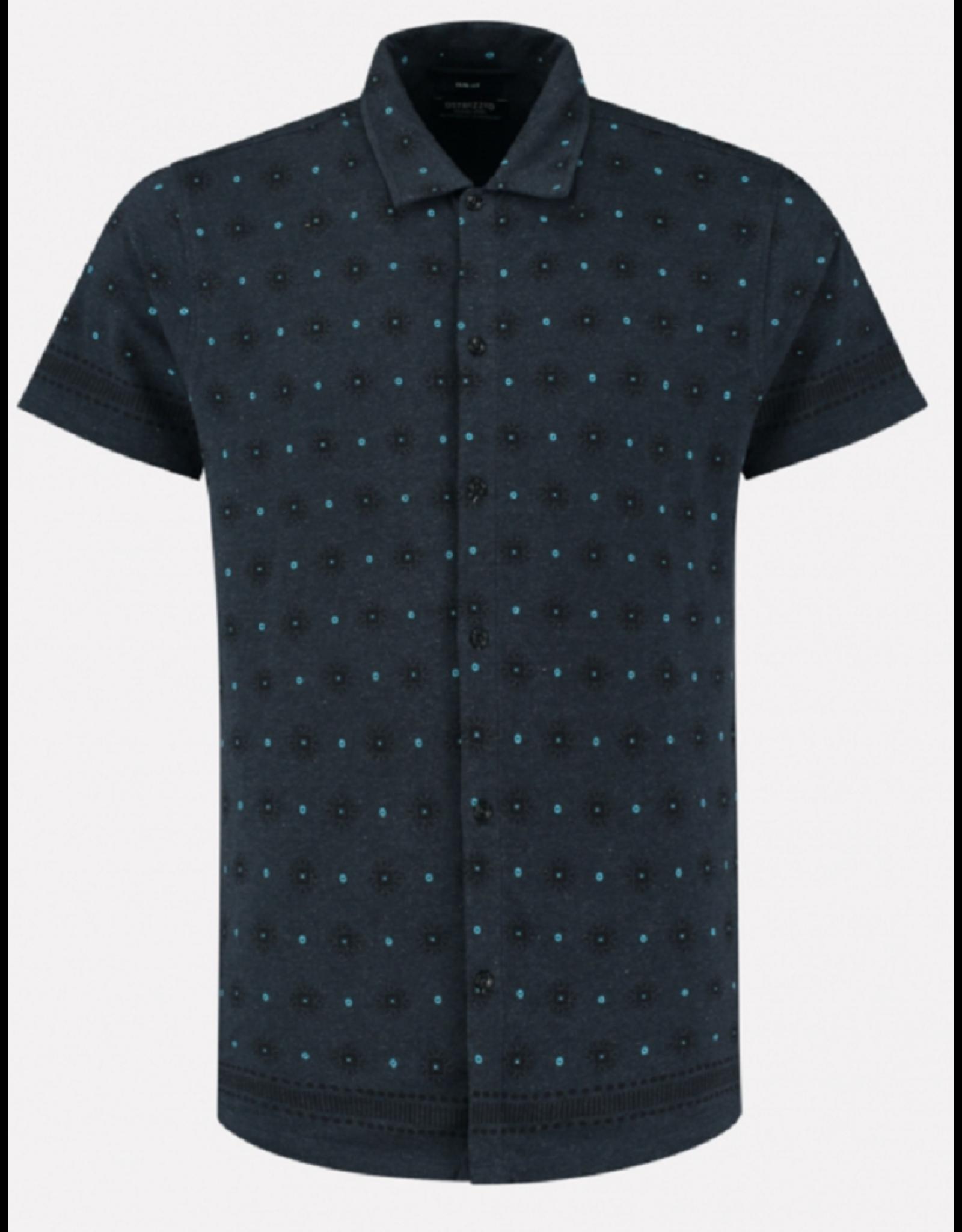Dstrezzed Dstrezzed overhemd stretch graphic print blauw