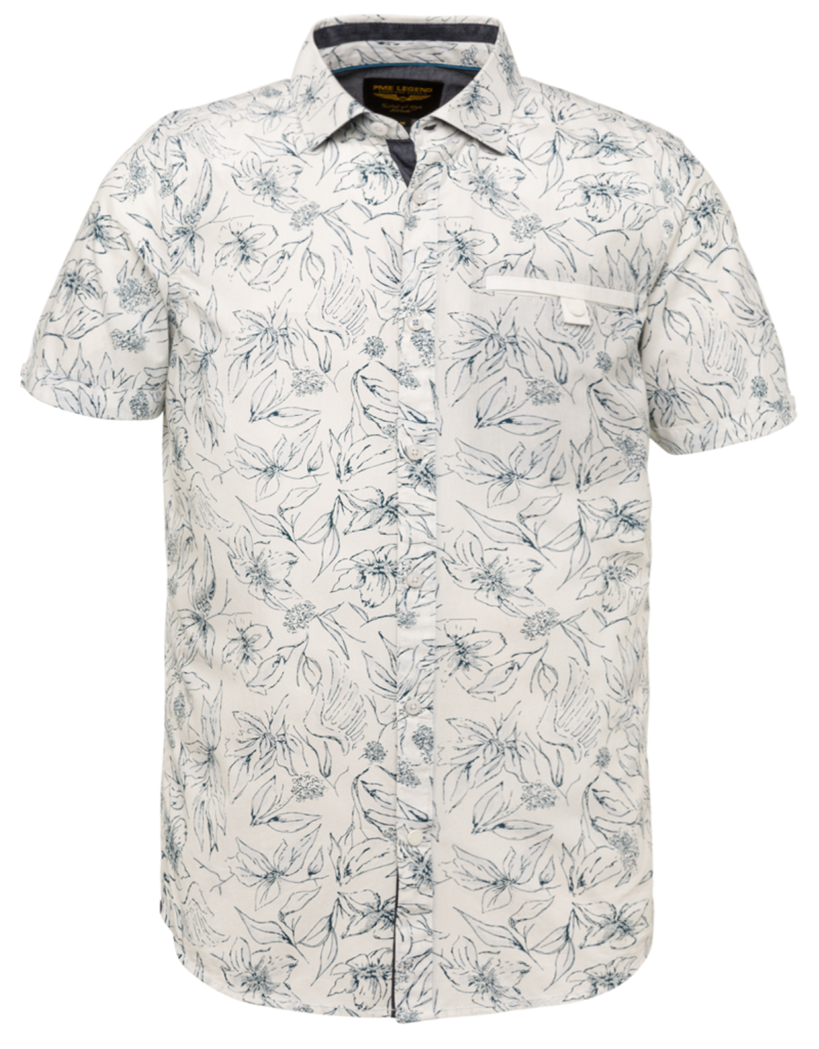 PME Legend PME Legend SLeeve Shirt Poplin print Bright white 7003