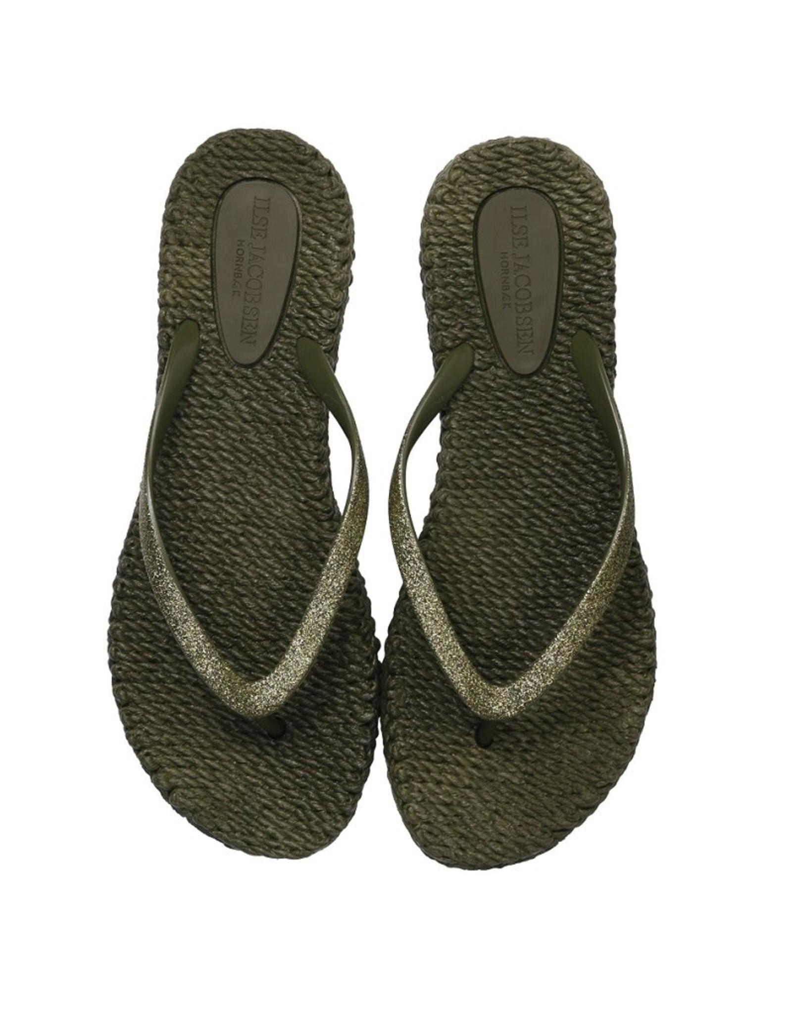Ilse Jacobsen Ilse Jacobsen slippers met glitters Army green