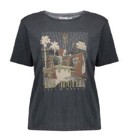 Geisha Geisha t-shirt  Acid wash anthtacite grijs camel 12517
